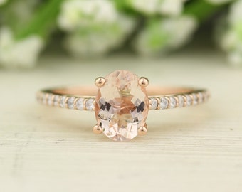 1 1/5 CT Natural Moragnite and Diamond Cathedral Style Engagement Ring in 14K Rose Gold