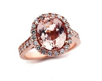 Natural Facet Cut Morganite  Solid 14K Rose Gold Diamond engagement Ring Gem785