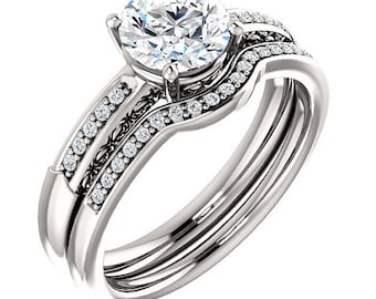 Certified center Natural White Sapphire Solid  14k white gold diamond  Engagement Ring Set ST233444
