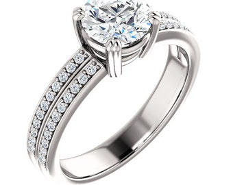 1ct Forever One (GHI) Moissanite Solid 14K White Gold   Engagement  Ring Set  - ST233487