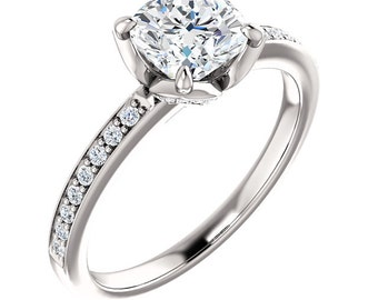 6mm  Antique Square Cushion  Forever One Moissanite, Near Colorless Solid 14K White Gold Diamond  Engagement  Ring   - ST233155