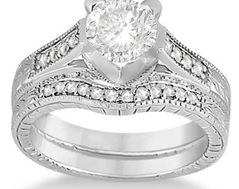 1 carat 6.5mm Round Forever One (GHI) Moissanite Flower Halo   Bridal Set Diamond Engagement Ring Set  ENS2126
