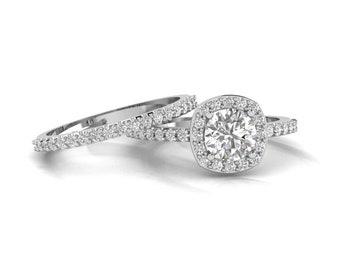 1ct  6.5mm  Forever One (GHI) Moissanite Solid 14K White Gold  Halo  Engagement  Ring Set  - Gem1539