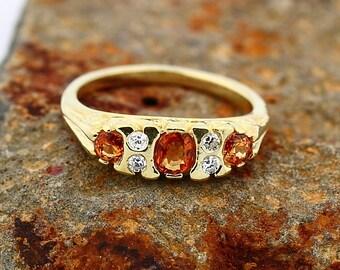 Stunning Natural Orange Sapphire  Solid 14K yellow Gold Diamond band Ring