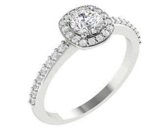Certified  Forever One Moissanite Colorless and Diamond Halo Engagement  Ring In  14K White Gold Eng464