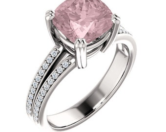 Natural AAA 8mm Antique Cushion Cut Morganite  Solid 14K White   Gold Diamond Engagement Ring Set - ST233487