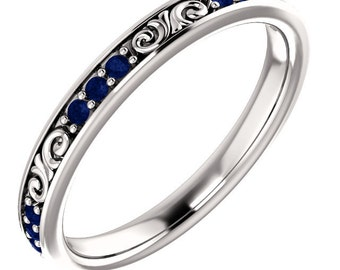 Stackable 14kt White  ,Rose or Yellow Gold  Floral Sculptural Blue Sapphire Eternity Band Ring  ST233645