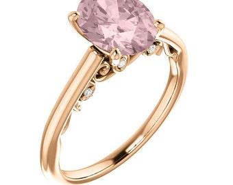 Natural AAA Morganite Ring Set, Diamond Morganite Engagement Ring Band Set, Roes gold, 9x7mm gemstone - ST234194