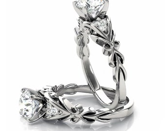 1 ct  Forever One (GHI) Moissanite  Diamond Engagement Ring in 14K White Gold , Wedding Ring  Ov61058