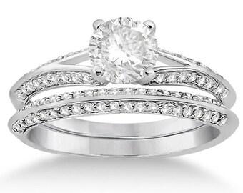 1 carat 6.5mm Round Forever One (GHI) Moissanite Solid 14K White Gold Knife Edge Diamond Engagement  Ring set - ENS4150