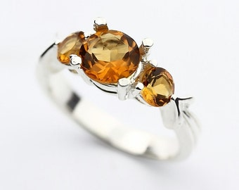 Total 1.15 Cts Natural Yellow Citrine Solid 14K wjote Gold 3 stone's Ring
