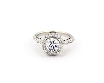 1 carat  Forever One (GHI) Moissanite 14K White Gold Vintage Diamond Engagement Halo Ring - Gem1250