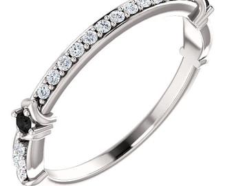 1/4 CTW Black & White Diamond 14K White / Yellow / Rose  Gold  Natural Round Diamond Wedding Band  Aniversary Ring ST233248-1153b