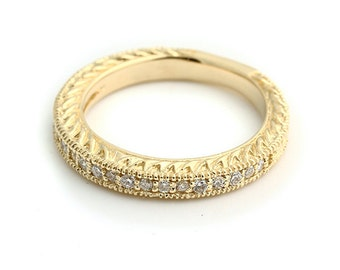 Natural Diamond  Sculptural Antique style Wedding Band Ring 14k Yellow Gold--- Gem918