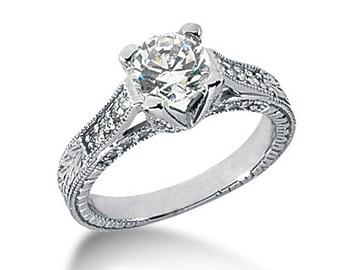 1.00 carat 6.5mm Round Forever One (GHI) Moissanite Diamond Vintage Engagement Ring ENR413