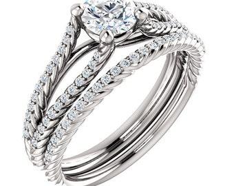 1/2 ct 5mm  Forever Brilliant Moissanite  14K White Gold Split Shank  Twisted Rope Diamond Engagement  Ring Set  - ST233683