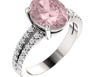 Natural AAA 10x8mm Oval  Morganite  Solid 14K White Gold Diamond Engagement Ring Set-ST82699