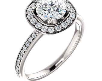 Forever One Moissanite Solid 14K White Gold Diamond Halo Engagement  Ring -ST233197 (Other metals and stone options available)