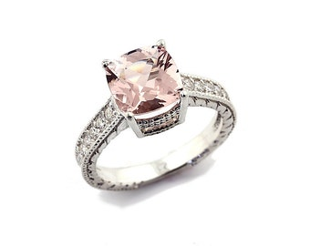 Stunning AAA Natural Antique Cushion Cut Morganite  Solid 14K White Gold Diamond engagement Ring-antique style Gem663