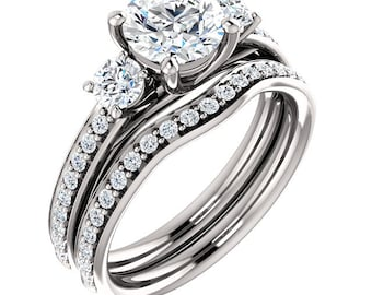 1ct  Forever One (GHI) Moissanite Solid 14K White Gold  3 stone  Engagement  Ring Set - ST233111