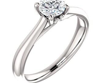 Forever One Moissanite 5mm Round 14K White Gold Diamond Engagement Ring   ***************Specail  For  You************** Gem1086
