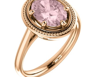 Natural AAA 10x8mm Oval  Morganite  Solid 14K Rose  Gold  Solitaire Engagement  Ring Set- ST82784