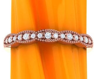 Art Deco Antique Style Diamond Milgrain 14K White/Yellow/Rose  Gold half  Eternity Wedding Band Ring Aniversary Ring  Gem1277