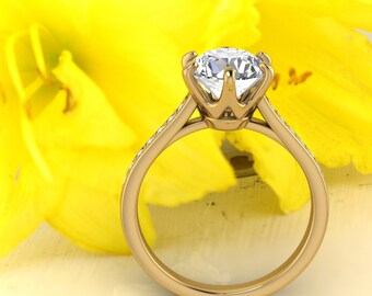 Solid 14K Gold Round 8mm Round 2.00 CT Moissanite (DEF) Crow Style  Engagement Ring ,Diamond Ring ,Moissanite wedding ring  Gift For Her