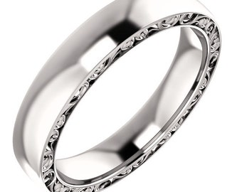 14k White Gold 4mm Heavy Sculptural-Style Relief Pattern Band in 14k White Gold ST616888