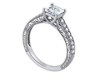 1 Ct 5.5mm Forever Brilliant Moissanite  Solid 14k white gold Antique Style diamond Engagement Ring- Ov61800