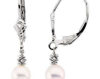 14K White 5.5-6mm Freshwater Cultured Grey Pearl Lever Back Earrings-ST32504