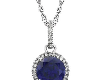 """14k White Gold Natural Diamond &Created  Sapphire / Ruby/ Emerald /Opal Halo style Pendant Necklace, 18"""" Rope Chain"""