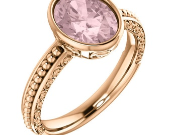 Natural AAA 10x8mm Oval  Morganite  Solid 14K rose  Gold  Sculptural Engagement Ring Set-ST82815