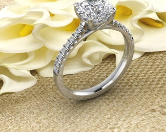 Solid 14K Gold 1.50CT Round Moissanite (DEF) Style Engagement Ring ,Diamond Ring ,Moissanite wedding ring  Gift For Her