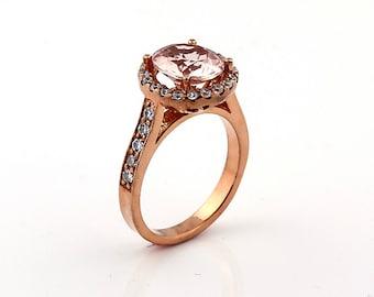 Natural Round  Pink  Morganite Solid 14K Rose Gold Diamond engagement Ring