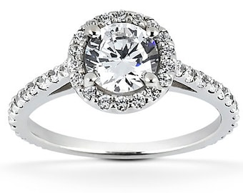1.00 carat 6.5mm Round Forever One (GHI) Moissanite Halo Diamond Engagement Ring ENR8904