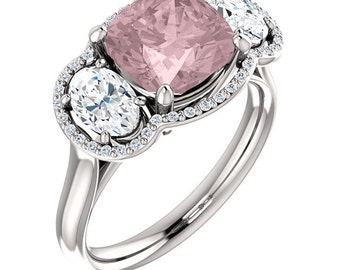 Natural AAA 8mm Antique Cushion Cut Morganite  Solid 14K White  Gold White Sapphire Diamond Engagement halo  Ring Set  ST82713