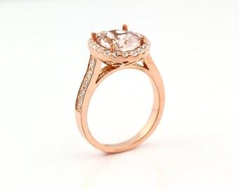 Natural AAA Facet Cut Morganite  Solid 14K Rose Gold Diamond engagement Ring Gem785