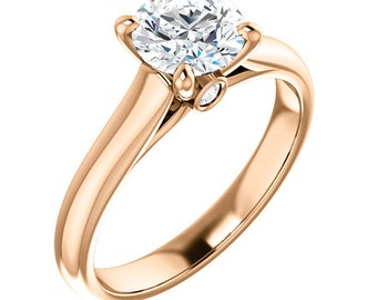 Certified  Forever One Moissanite Engagement Ring ,Round Brilliant Cut Diamond Simulant Wedding Ring In Solid 14K Rose Gold - Gem1459