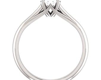 Colorless Forever One Moissanite 5mm Round 14K White Gold Diamond Engagement Ring   Gem887