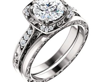 1.25  ct Forever One (GHI) Moissanite Solid 14K White Gold Diamond Sculptural-Inspired Engagement Ring - ST232092