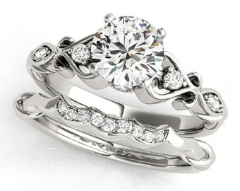 Round Brilliant Cut Moissanite Solid 14K White Gold Engagement Ring Set with Floral Design -Gift For HerGem1262