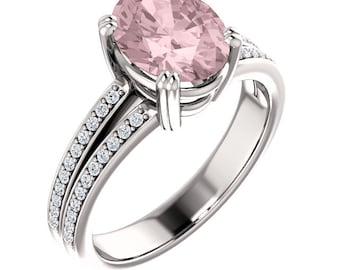 Natural AAA 10x8mm Oval  Morganite  Solid 14K white Gold Diamond Engagement Ring Set-ST233487