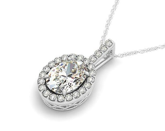 7x5mm OvalForever One (GHI) Moissanite Solid 14k white gold Antique Halo Style diamond Pendant with  18 Inch Cable chain - Ov42593
