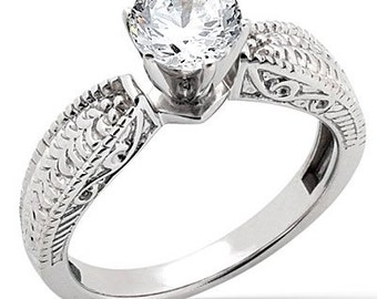 1 carat 6.5mm Forever One (GHI) Moissanite  14K White Gold  solitaire  Engagement  Ring - antique style - ENR2866
