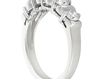 5 stones ~ 3/4 ct  Round Forever One Moissanite  Solid  14k white gold Half eternity wedding Band Ring WB2820