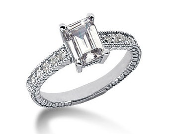 1 CT 7x5mm Emerald Cut Forever One (GHI) Moissanite Diamond Vintage Engagement Ring ENR760