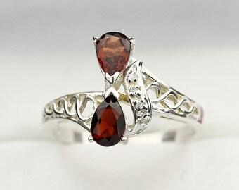Natural 1ct Rhodolite  Garnet Solid 14K White Gold Diamond Ring
