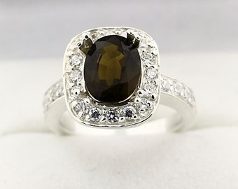 Natural Lime Green Tourmaline Solid 14K White Gold Diamond Ring
