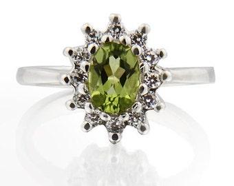 7x5mm Natural Peridot Solid 14K White Gold Diamond Ring